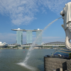 Le Merlion et Marina Bay