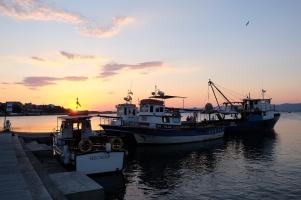 Coucher de soleil sur le petit port de Nessebar